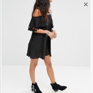BOOHOO Off The Shoulder Tassel Trim Black Dress 10